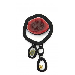 Broche metal y resina granate Black18120