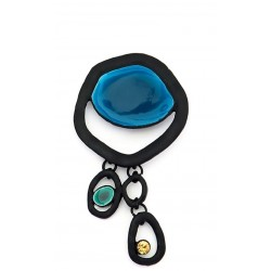 Broche metal y resina azul Black18120
